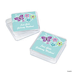 12 Personalized All Aflutter Aqua Favor Boxes