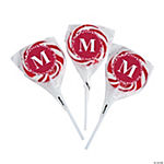 Personalized Red Monogram Swirl Pops