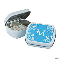 Light Blue Personalized Monogram Mint Tins