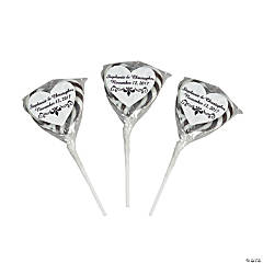 Personalized Black & White Heart-Shaped Swirl Pops