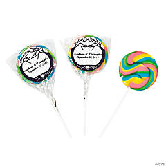 Personalized Wedding Tree Swirl Pops - Rainbow