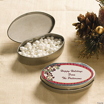 Personalized Mistletoe Tins with Mints