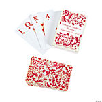 Personalized Red On Red Wedding Playing Cards