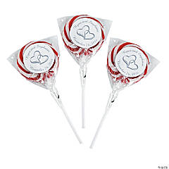 Personalized Two Hearts Swirl Pops - Burgundy