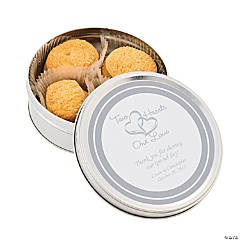 Personalized Two Hearts Wedding Cookie Tins