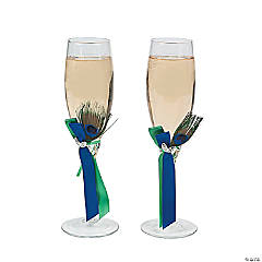 Personalized Peacock Champagne Flutes
