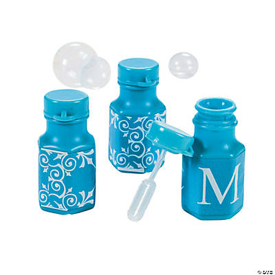 Light Blue Personalized Monogram Wedding Mini Bubble Bottles
