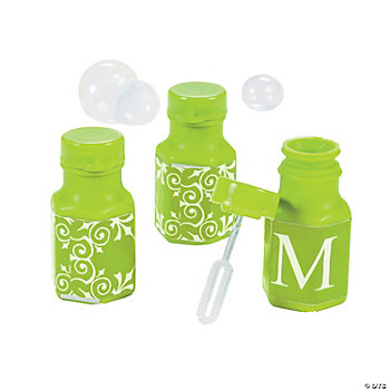 Lime Green Personalized Monogram Wedding Mini Bubble Bottles
