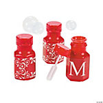 Red Personalized Monogram Wedding Mini Bubble Bottles