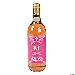 Hot Pink Personalized Monogram Wine Bottle Labels