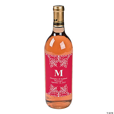Red Personalized Monogram Wine Bottle Labels