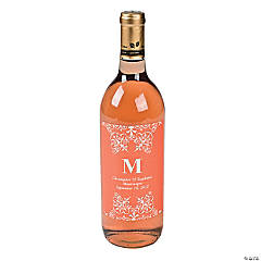Orange Personalized Monogram Wine Bottle Labels