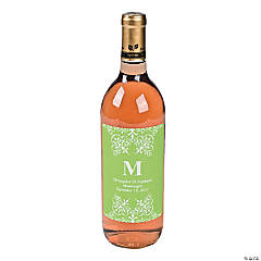 Lime Green Personalized Monogram Wine Bottle Labels
