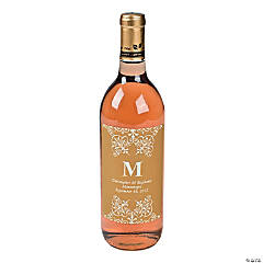 Gold Personalized Monogram Wine Bottle Labels
