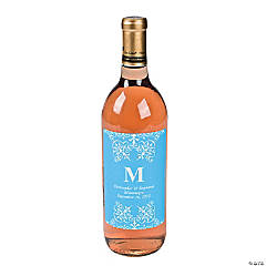 Light Blue Personalized Monogram Wine Bottle Labels