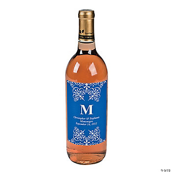 Blue Personalized Monogram Wine Bottle Labels