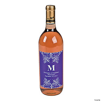 Purple Personalized Monogram Wine Bottle Labels
