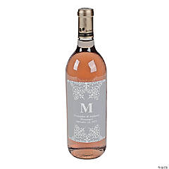 Silver Personalized Monogram Wine Bottle Labels