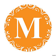 Orange Personalized Monogram Wedding Favor Stickers