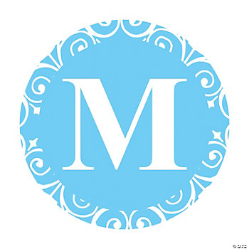 Light Blue Personalized Monogram Wedding Favor Stickers