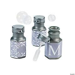 Silver Personalized Monogram Wedding Mini Bubble Bottles