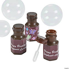 48 Personalized All Aflutter Brown Hexagon Bubble Bottles