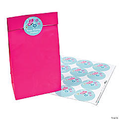 24 Personalized Large Aqua All Aflutter Round Favor Stickers