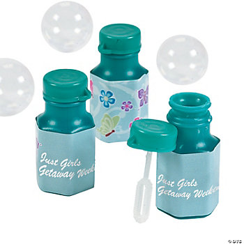 48 Personalized All Aflutter Aqua Hexagon Bubble Bottles