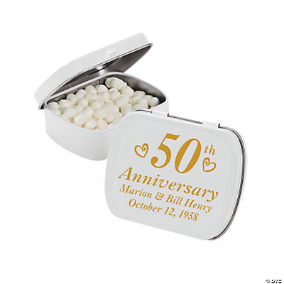 "Personalized ""50th Anniversary"" Tins with Mints"