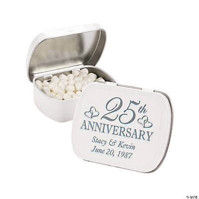 "Personalized ""25th Anniversary"" Tins with Mints"