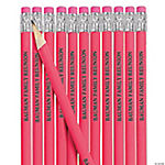 Neon Pink Personalized Pencils