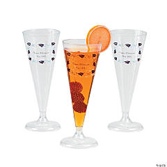 Clear Personalized Graduation Champagne Flutes