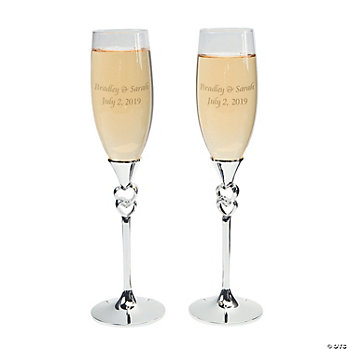 Twisted Stacked Hearts Wedding Flutes