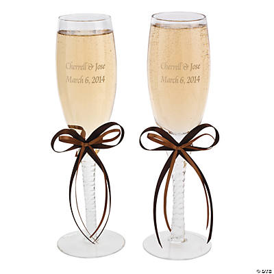 Personalized Champagne Flutes with Brown Bows