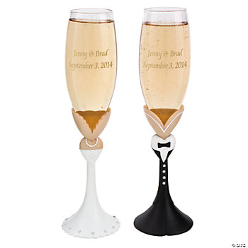 Personalized Tux & Gown Champagne Flute Set