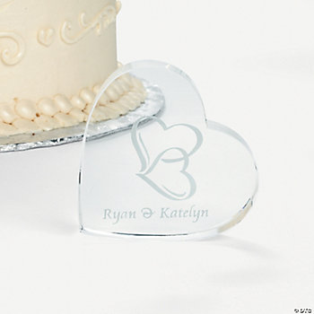 Personalized Two Hearts Cake Topper