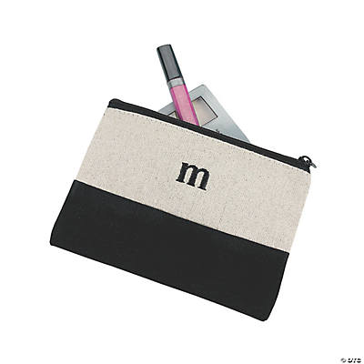Personalized Black Initial Cotton Cosmetic Bag