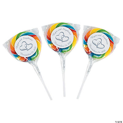 Personalized Two Hearts Swirl Pops - Rainbow
