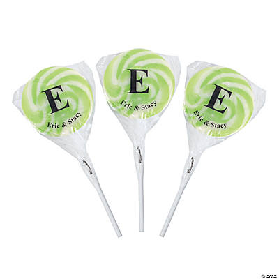 Personalized Monogram Swirl Pops - Light Green