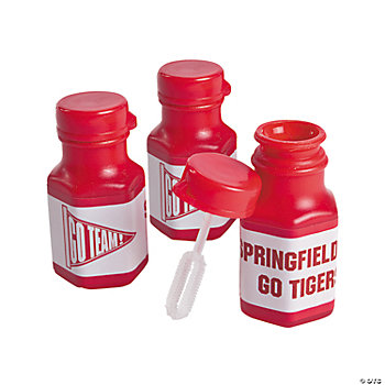 Personalized Red Team Spirit Mini Bubble Bottles