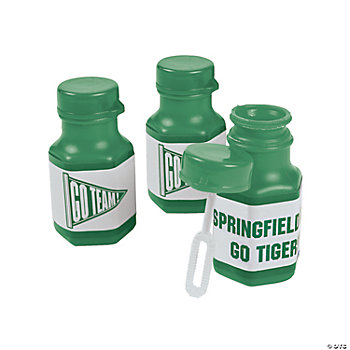 Personalized Green Team Spirit Mini Bubble Bottles