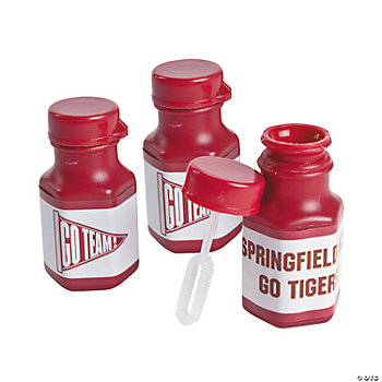 Personalized Burgundy Team Spirit Mini Bubble Bottles