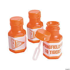 Personalized Orange Team Spirit Mini Bubble Bottles