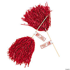 Personalized Red Pom-Poms