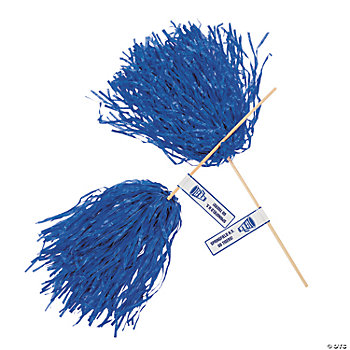 Personalized blue pom poms