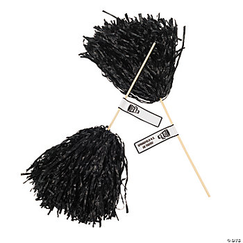 Personalized Black Pom-Poms