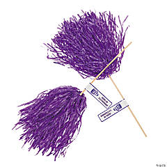 Personalized Purple Pom-Poms