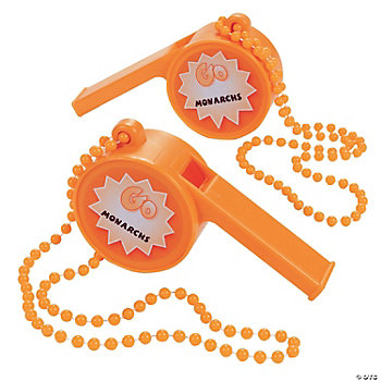 "Personalized Jumbo Orange ""Let's Go""  Whistles"