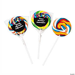 24 Personalized Birthday Dot Swirl Pops