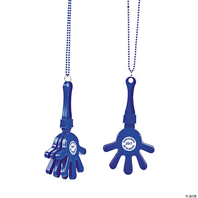 Blue Personalized Hand Clapper Beaded Necklaces
